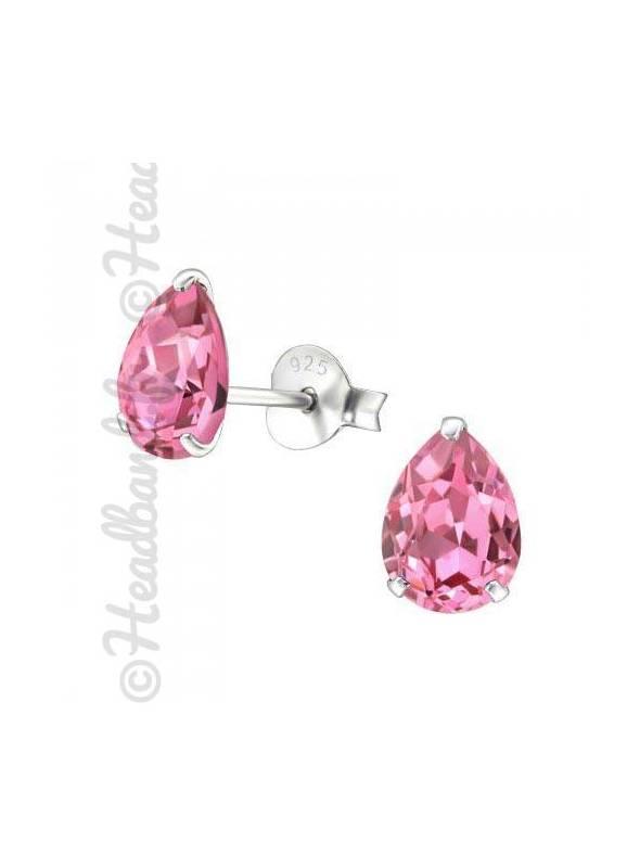 Boucles stud ovale Swarovski® cristal rose