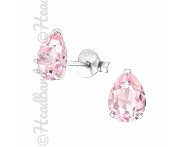 Clous d'oreilles goutte Swarovski cristal rosaline