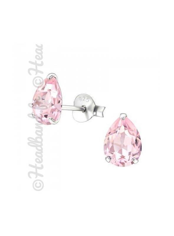Boucles stud ovale Swarovski® cristal rosaline