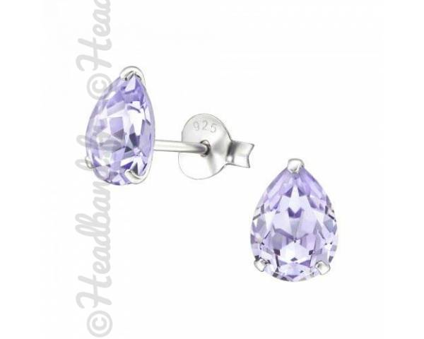 Clous d'oreille goutte Swarovski cristal violet