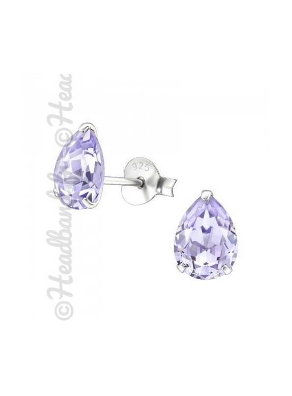 Boucles stud ovale Swarovski® cristal violet