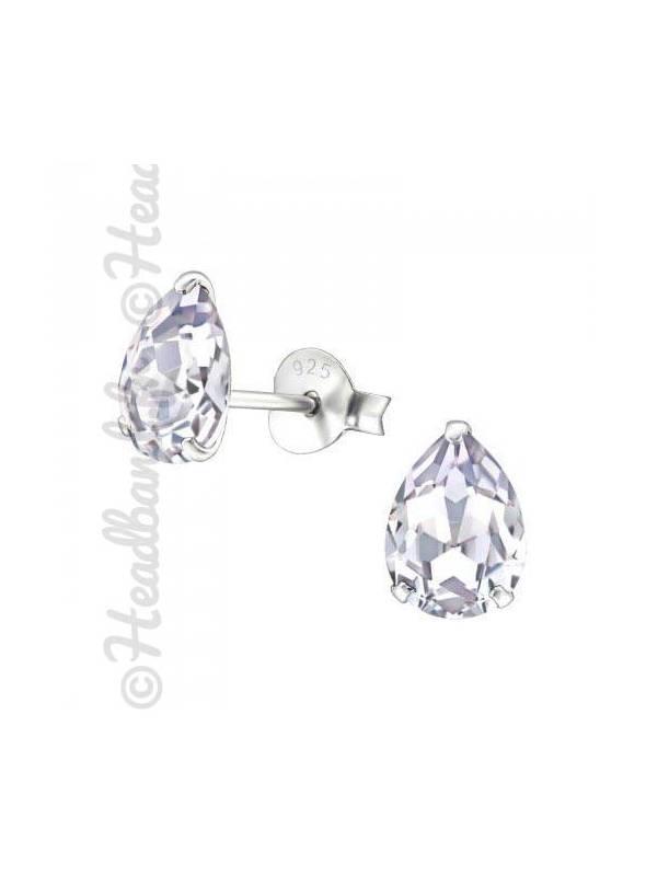 Boucles stud ovale Swarovski® cristal lavande