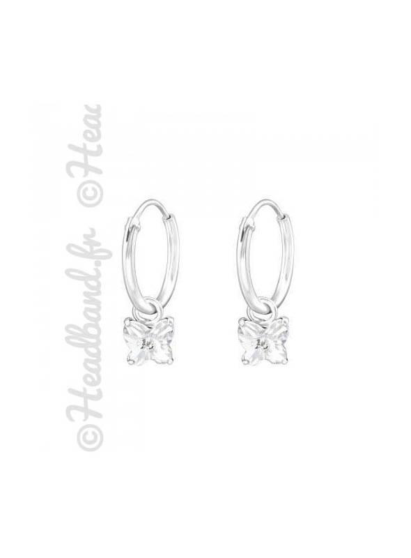Créoles papillon Swarovski® cristal blanc