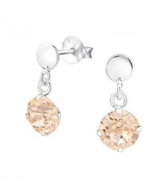 Boucles pendantes Swarovski stud cristal light peach