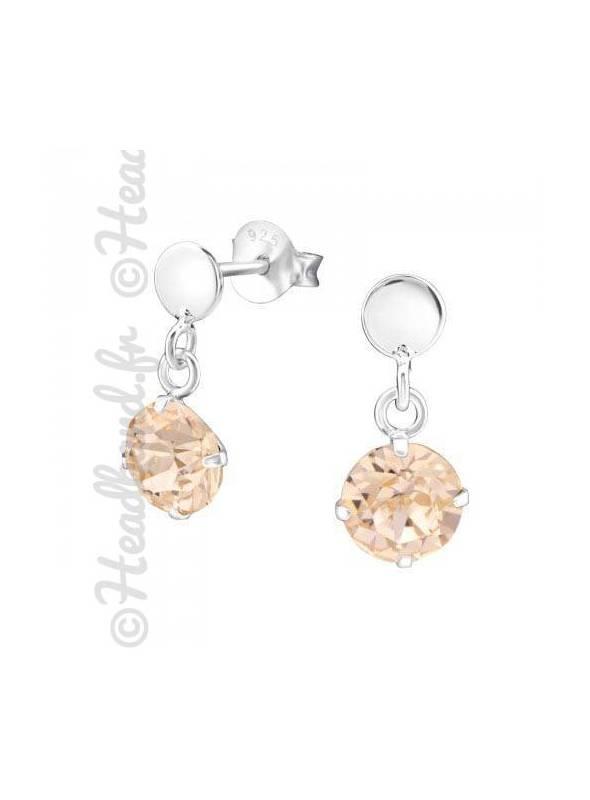Boucles pendantes Swarovski® stud cristal light peach
