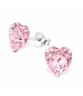 Boucles coeur Swarovski cristal rose clair