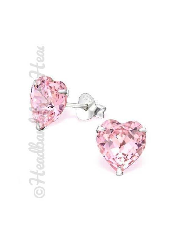 Boucles coeur Swarovski® cristal rose clair