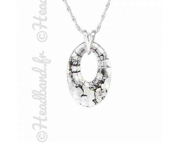 Collier pendentif ovale cristal Swarovski black patina