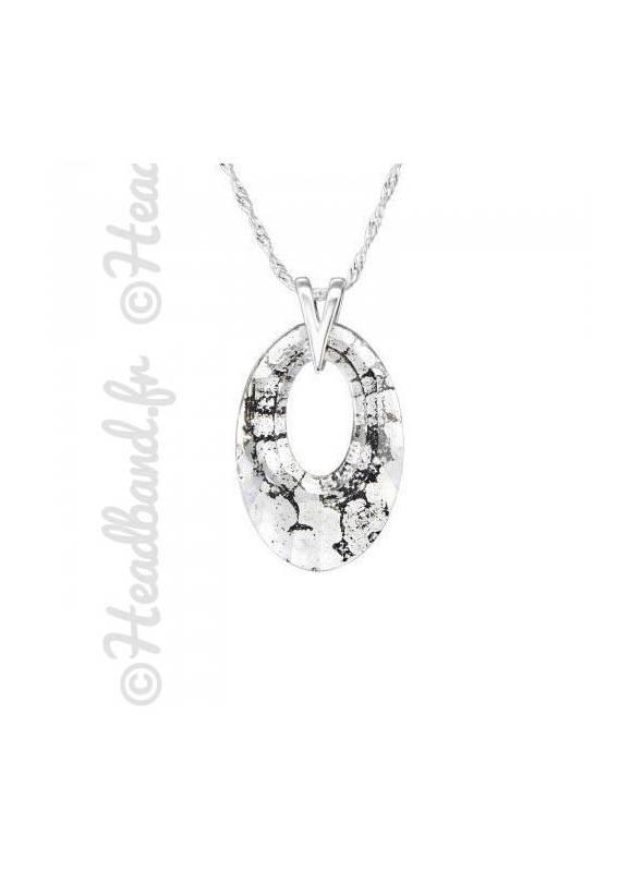 Collier pendentif ovale cristal Swarovski® black patina