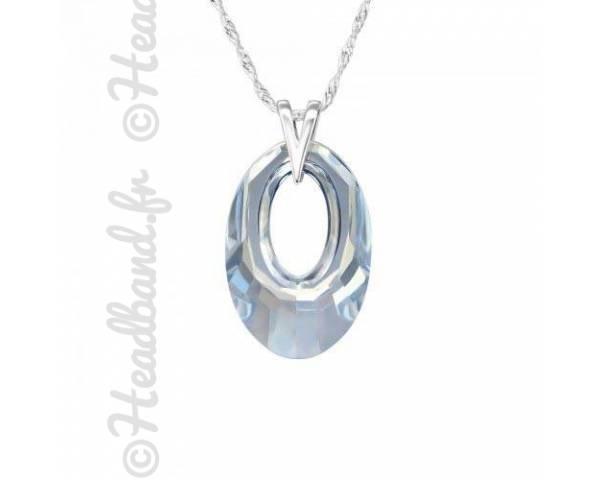 Collier pendentif ovale cristal Swarovski bleu
