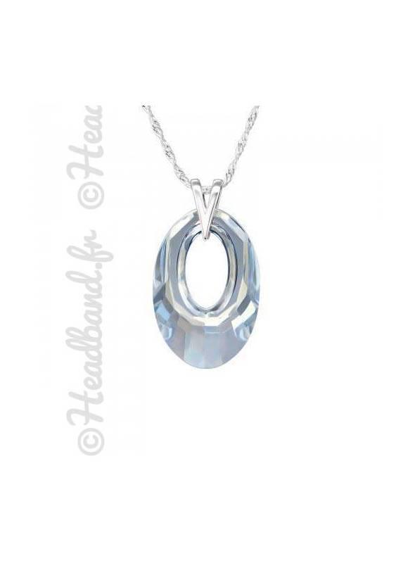 Collier pendentif ovale cristal Swarovski® bleu