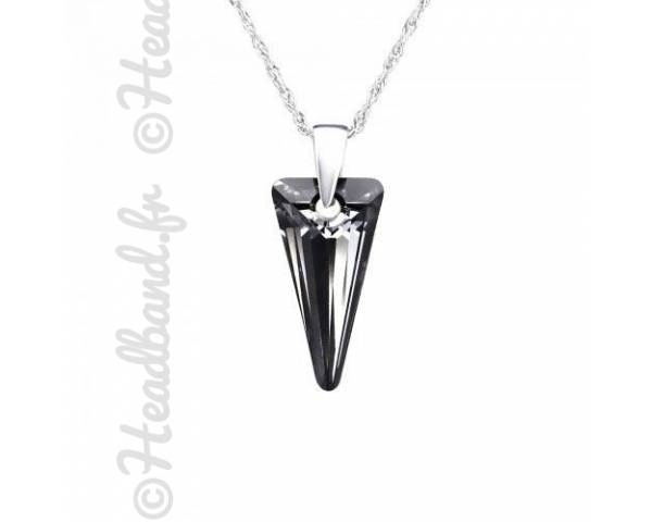 Collier argent cristal triangle Swarovski silver night