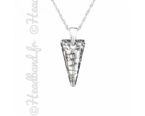 Collier argent cristal triangle Swarovski silver panita
