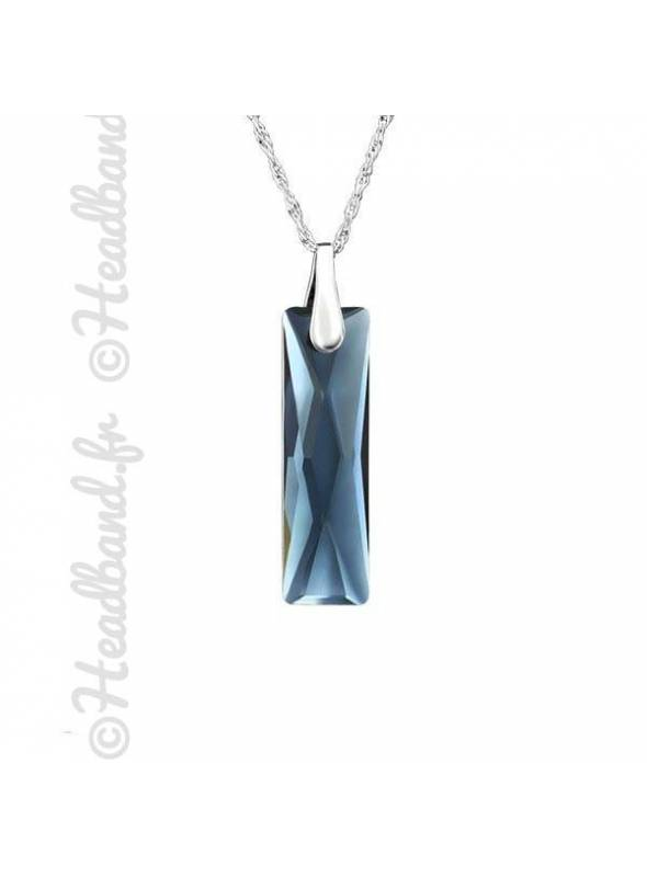 Collier argent cristal rectangle Swarovski® montana