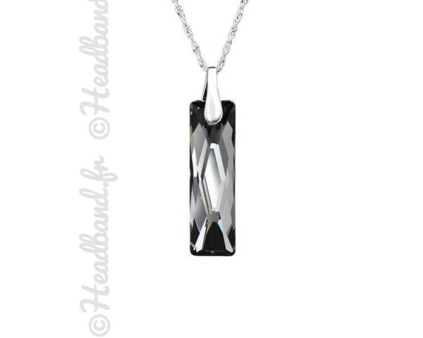 Collier argent cristal rectangle Swarovski silver night