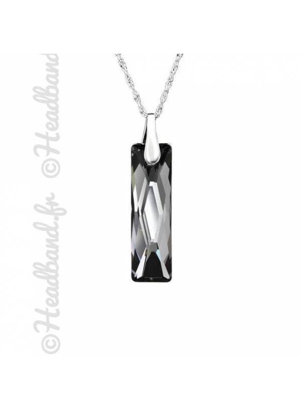 Collier argent cristal rectangle Swarovski® silver night