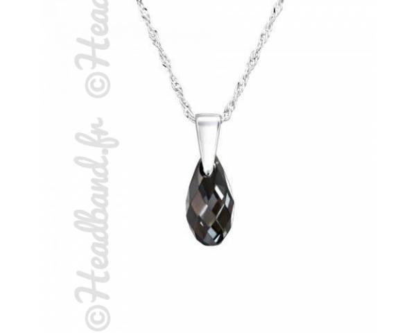 Collier argent cristal goutte 1,1 cm Swarovski silver night
