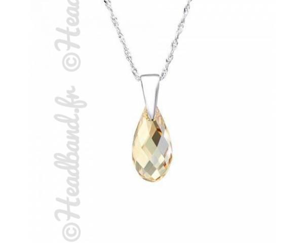 Collier cristal goutte 1,3 cm Swarovski golden shadow