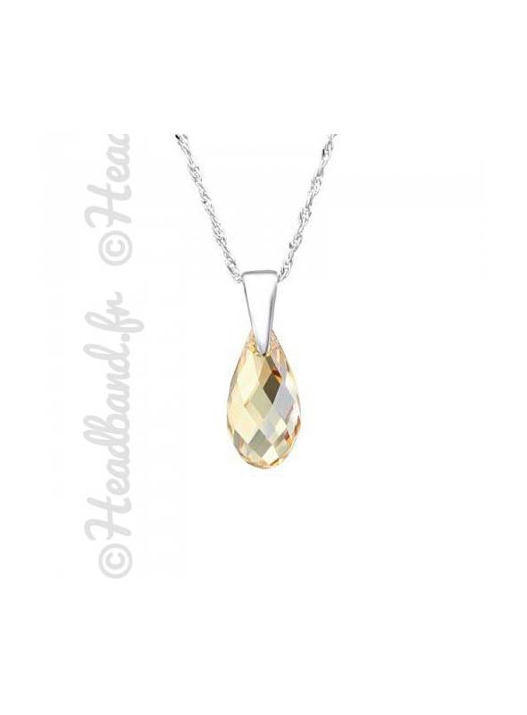 Collier cristal goutte 1,3 cm Swarovski® golden shadow