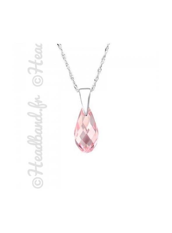Collier cristal goutte 1,3 cm Swarovski® rose clair