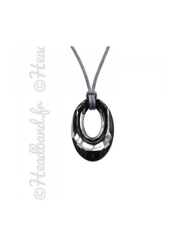 Collier cordon cristal rond Swarovski® silver night