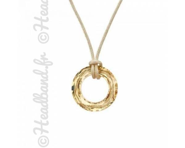 Collier cordon cristal rond Swarovski golden shadow