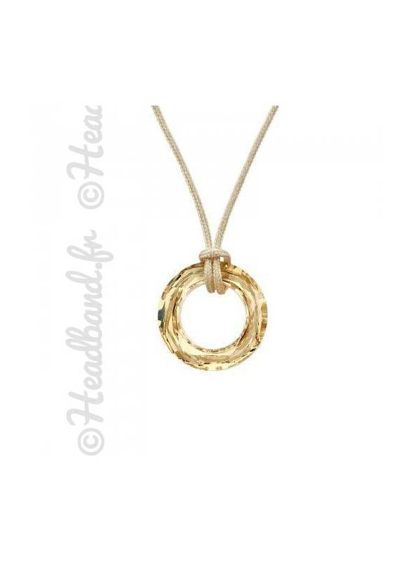 Collier cordon cristal rond Swarovski® golden shadow