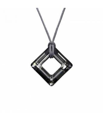 Collier cordon cristal carré Swarovski silver night
