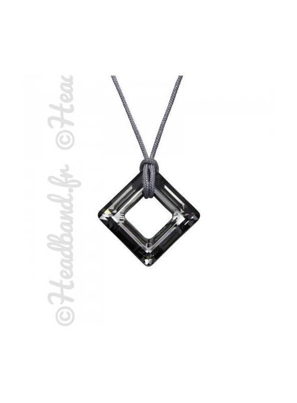 Collier cordon cristal carré Swarovski® silver night