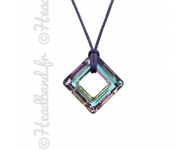 Collier cordon cristal carré Swarovski vitrail light