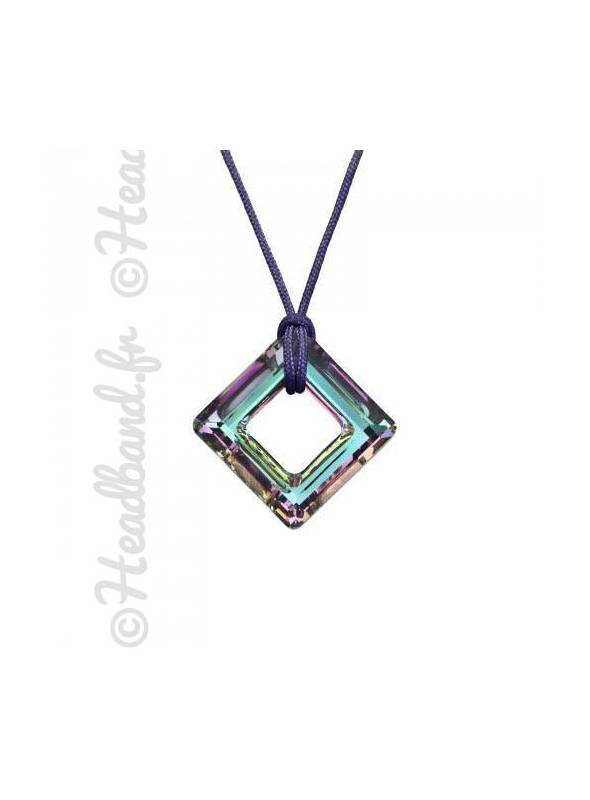 Collier cordon cristal carré Swarovski® vitrail light