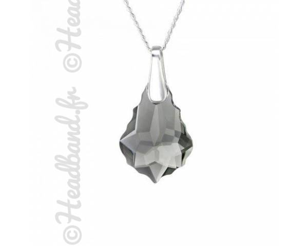 Collier argent cristal baroque Swarovski black diamond