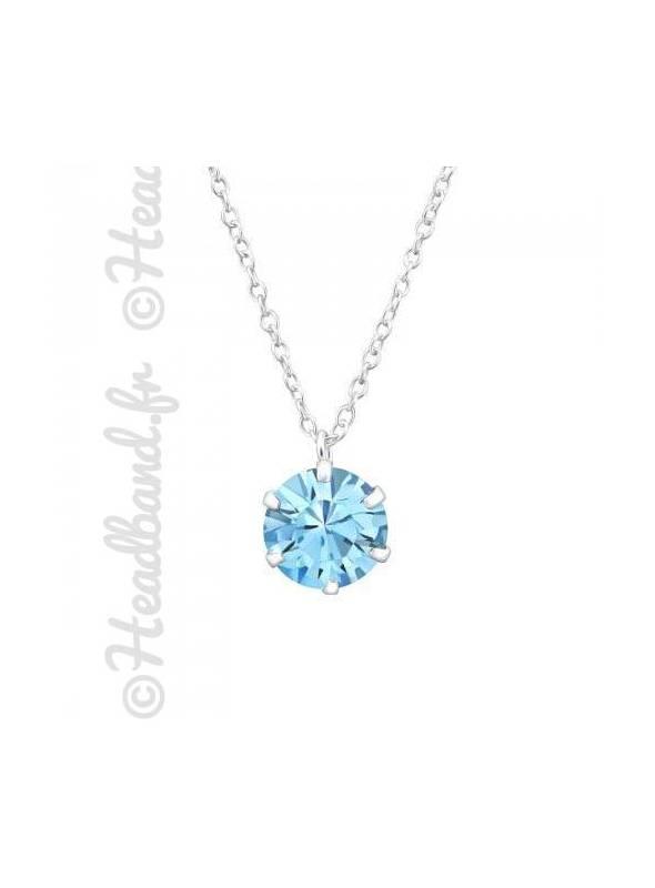 Collier pendentif cristal stud Swarovski® aquamarine