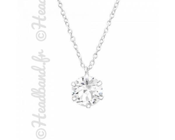 Collier pendentif cristal stud Swarovski blanc