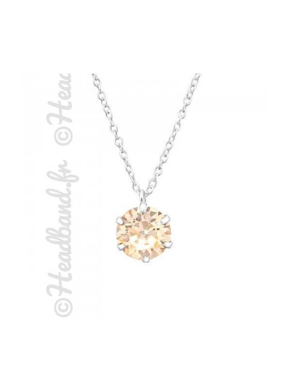 Collier pendentif cristal stud Swarovski® silk