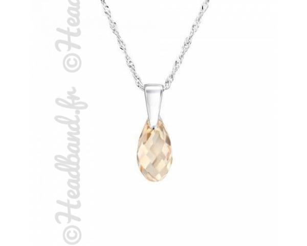Collier argent cristal goutte 1,1 cm Swarovski light silk