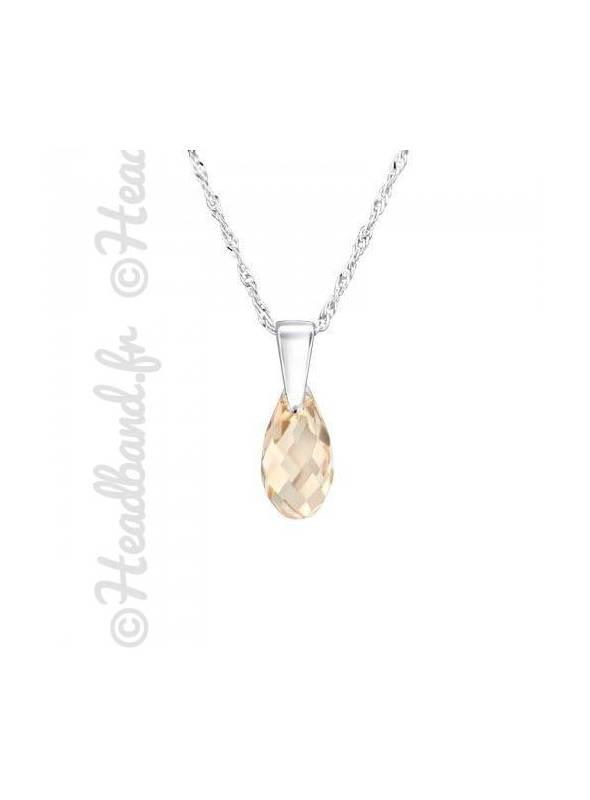 Collier argent cristal goutte 1,1 cm Swarovski® light silk
