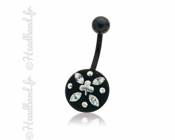 Piercing nombril motif feuille cristaux Swarovski