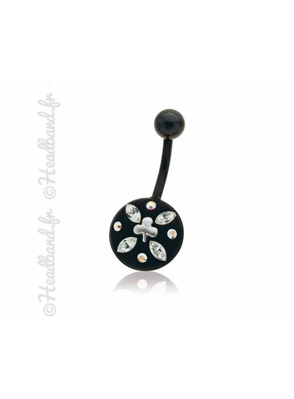 Piercing nombril motif feuille cristaux Swarovski®