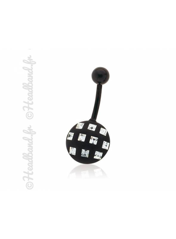 Piercing nombril motif carré cristaux Swarovski®