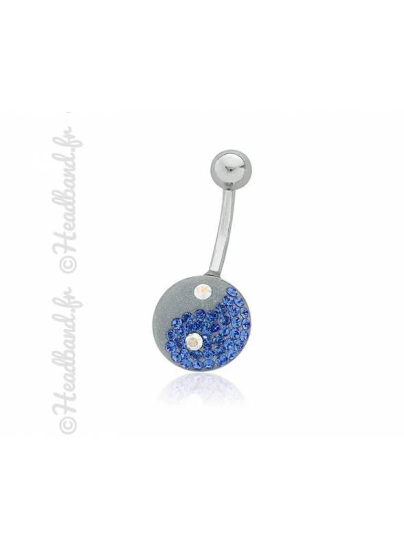 Piercing nombril yin-yang cristaux bleu Swarovski®