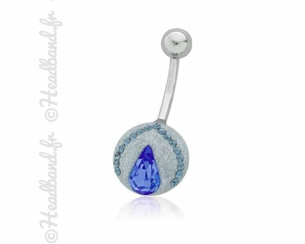 Piercing nombril motif goutte cristaux Swarovski