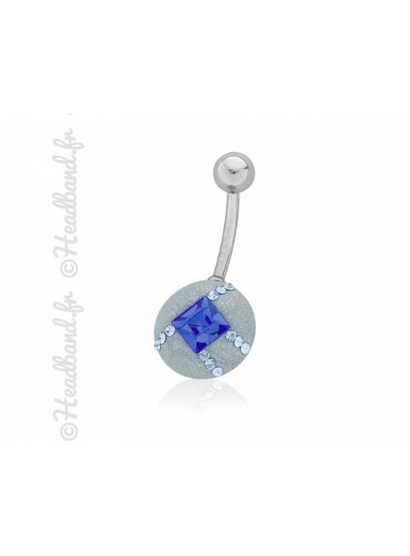 Piercing nombril cristal bleu carré Swarovski®