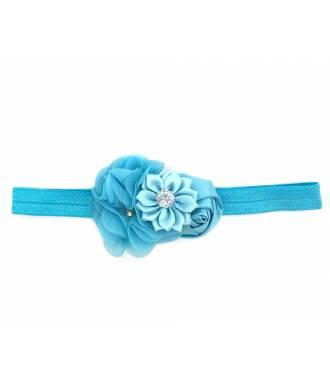 Headband enfant rosette et strass bleu