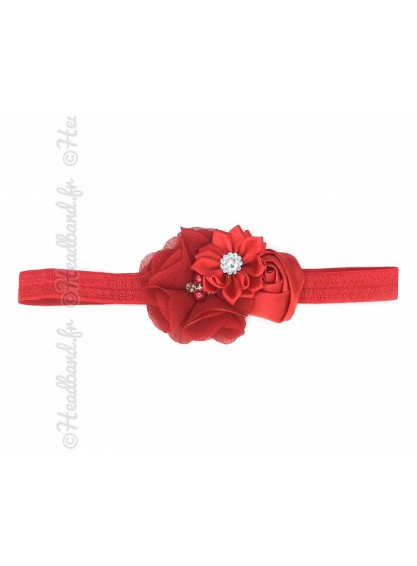 Headband enfant rosette et strass rouge