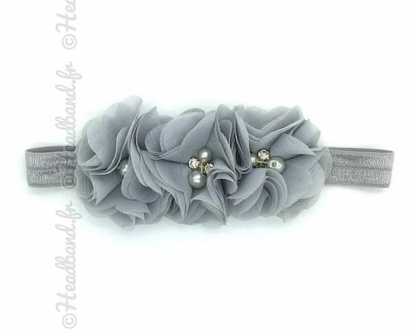 Bandeau triple fleur gris clair