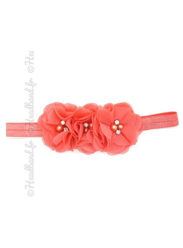 Bandeau triple fleur corail
