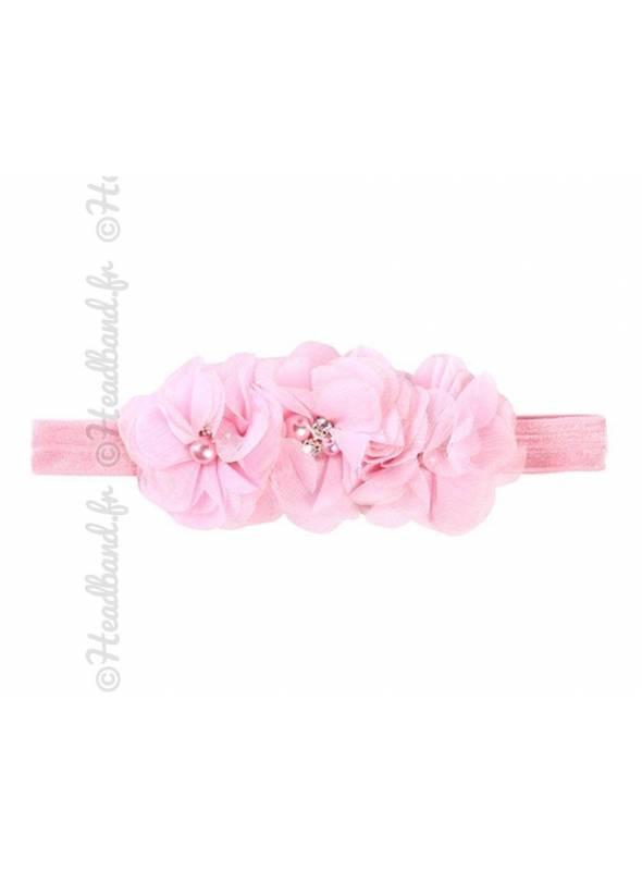 Bandeau triple fleur rose pâle