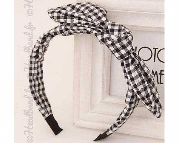 Serre-tête noeud vichy noir et blanc