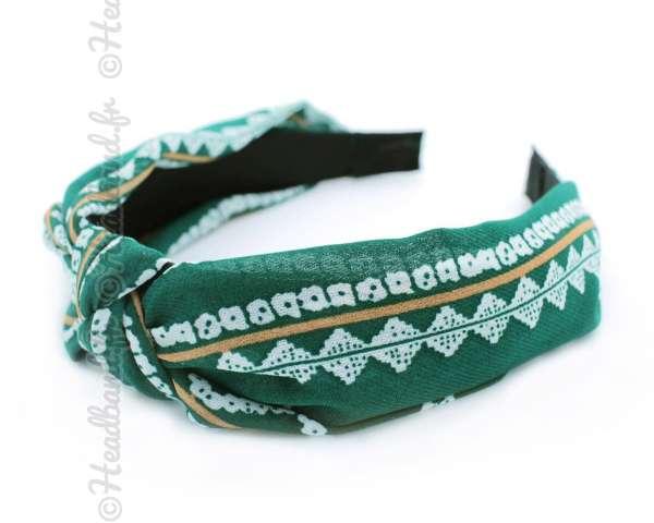 Serre-tête effet turban motifs vert
